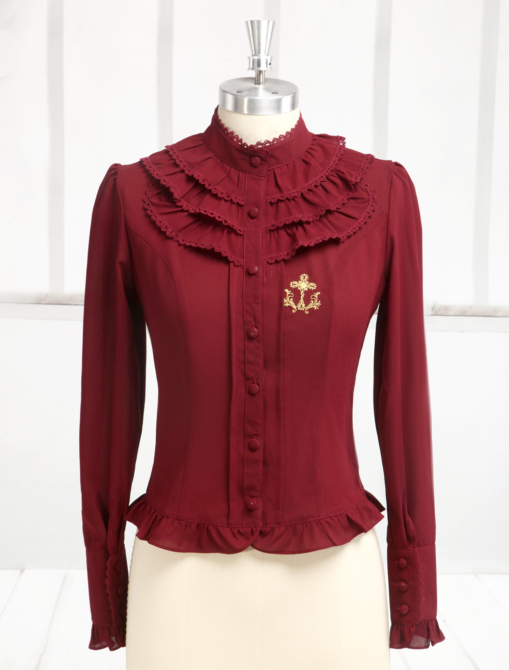 Hime Dark Red Chiffon Long Sleeves Lolita Shirt
