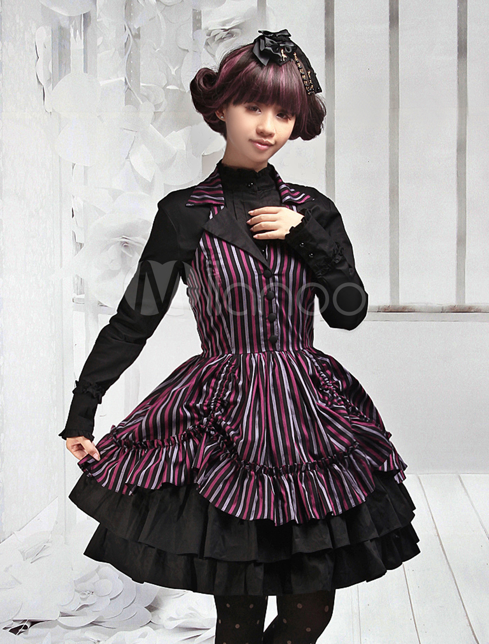 Multi-color Lolita Jumper Dress V-neck Polyerster Layers Ruffles