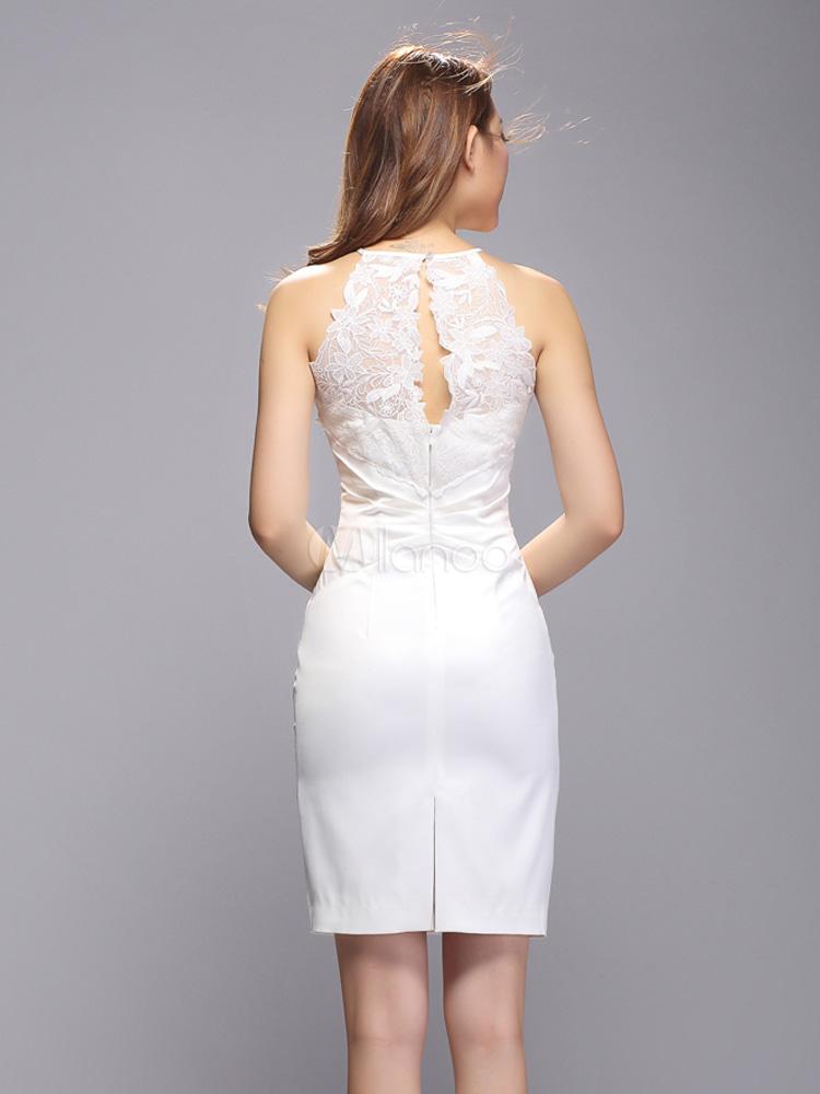 new style 8a3bd 6d5fa Weißes Bodycon Kleid aus Polyester mit Cutouts und Spitzen