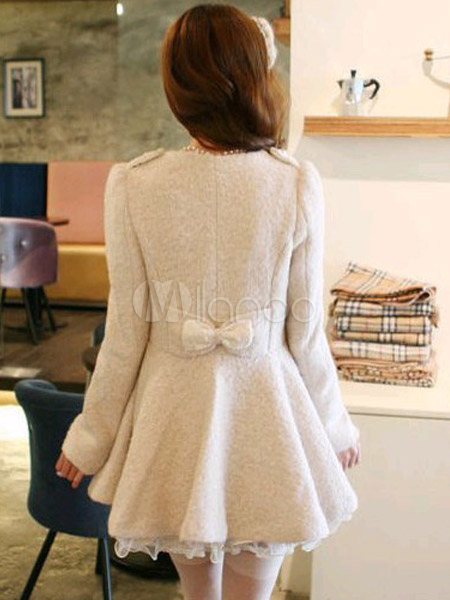 Cappotto bianco monocolore dolce in lana mista con fiocchi - Milanoo.com 9d764477996