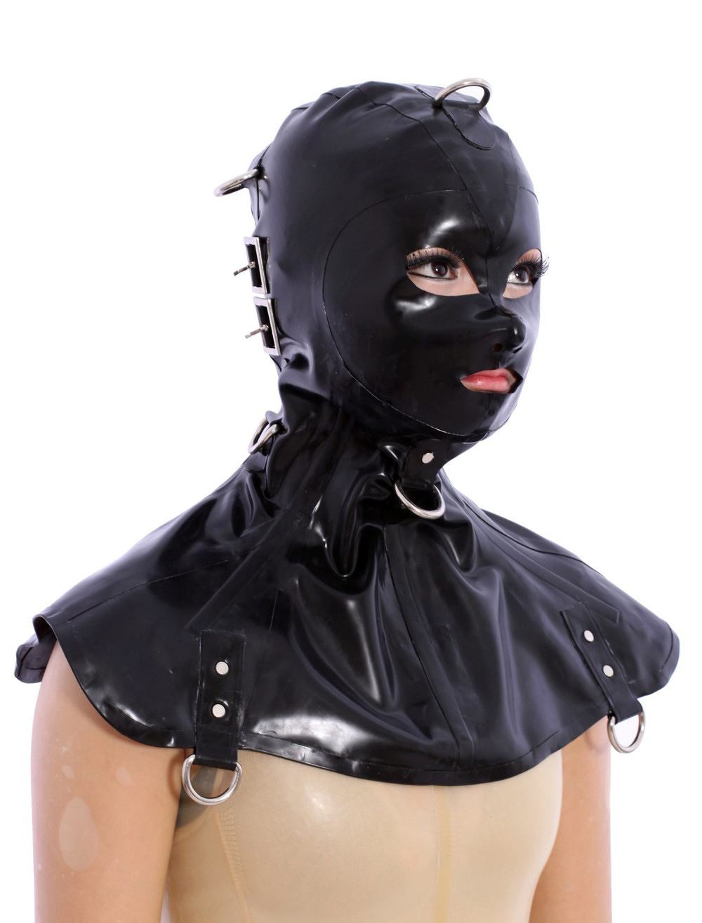 Halloween Excellent Black Open Eyes Latex Hoods Halloween
