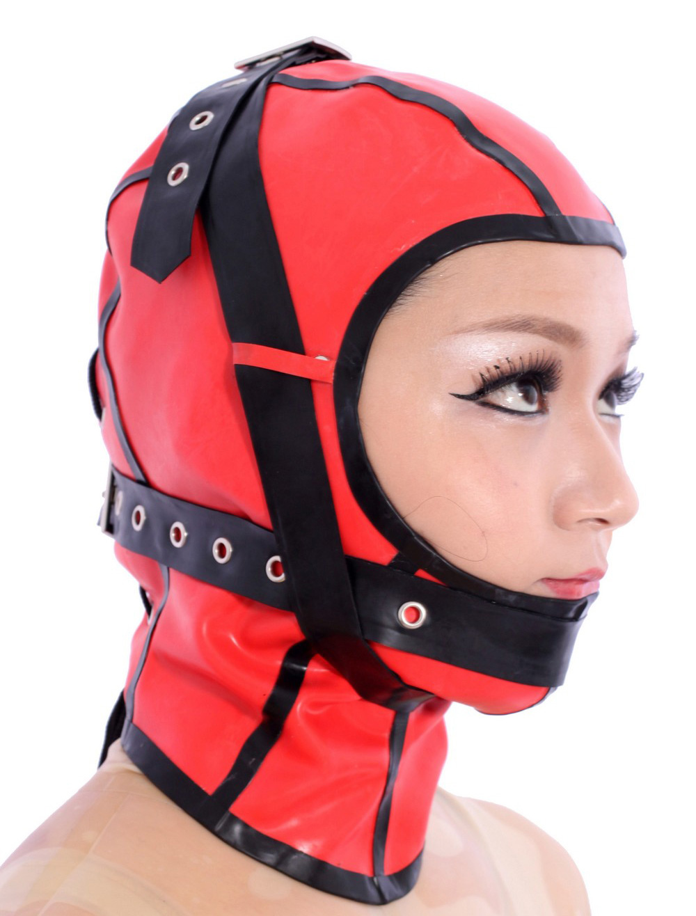 Halloween Special Red Open Face Latex Hoods Halloween