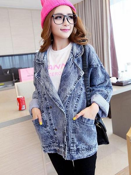 new concept d4a60 5ba0c Giacca di jeans blu tacca collare angosciata oversize moda per le donne