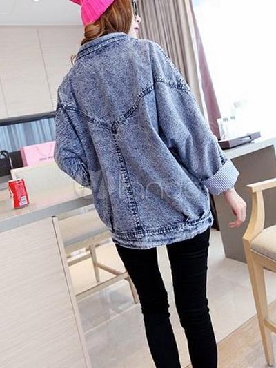 giacca di jeans blu tacca collare angosciata oversize moda per le donne. Black Bedroom Furniture Sets. Home Design Ideas