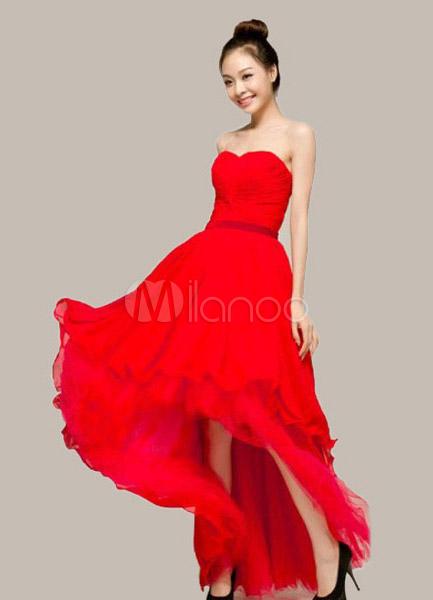 Und Aus Herz Ausschnitt In Mit Trägerloses Chiffon Kleid Spitze Rot PXZuTwOlik