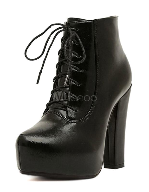 51a25d42a5c Tacón botines de pie almendra negro tacón grueso PU cuero Cordones mujer  -No.1 ...