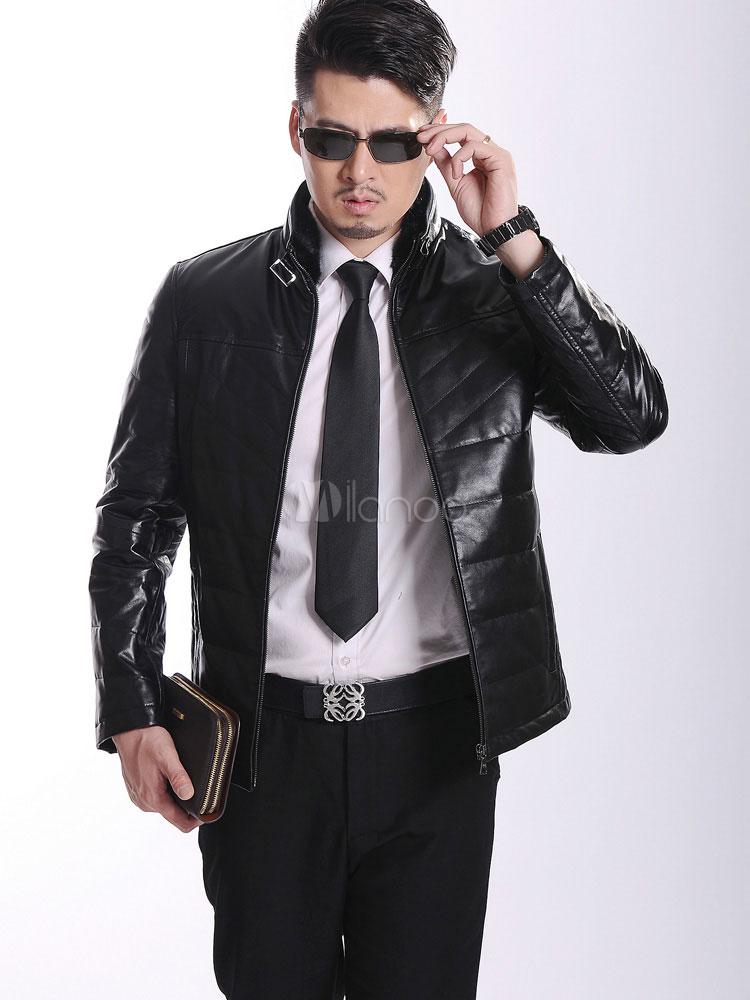 Giacca di pelle elegante di colore solido tasche manica lunga per gli uomini