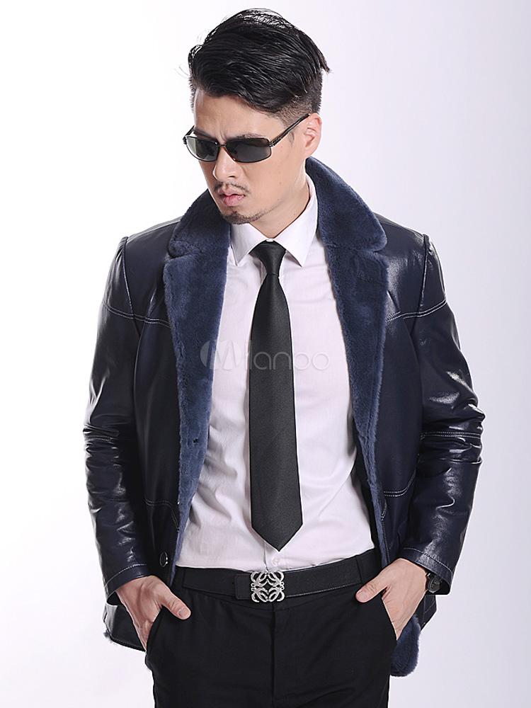 Giacca In Royal Uomo Elegante Blu Cuoio Per Pelle Tasche Tinta TwUXYa