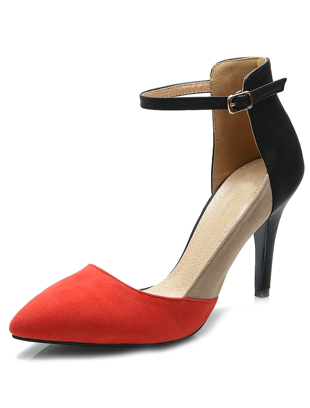 Buy Pretty Red Stiletto Heel Suede Leather Women's Pointy Toe Heels for $35.19 in Milanoo store