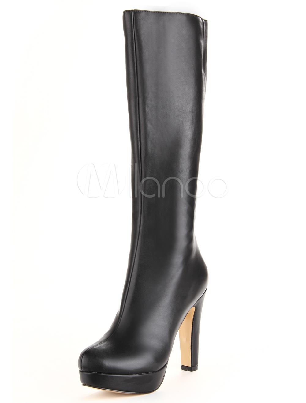 Black Round Toe Chunky Heel PU Leather Knee Length Boots