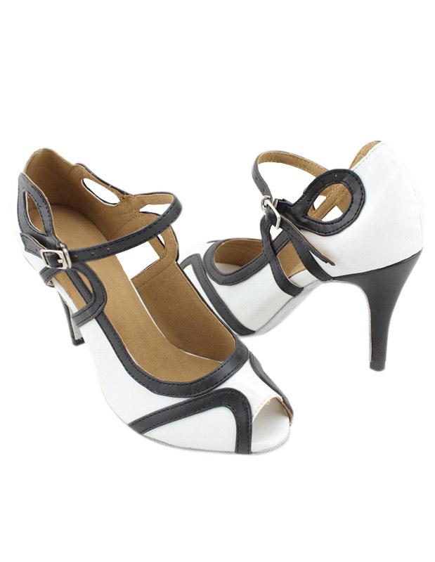 Peep Toe Color Block PU Leather Professional Latin Shoes
