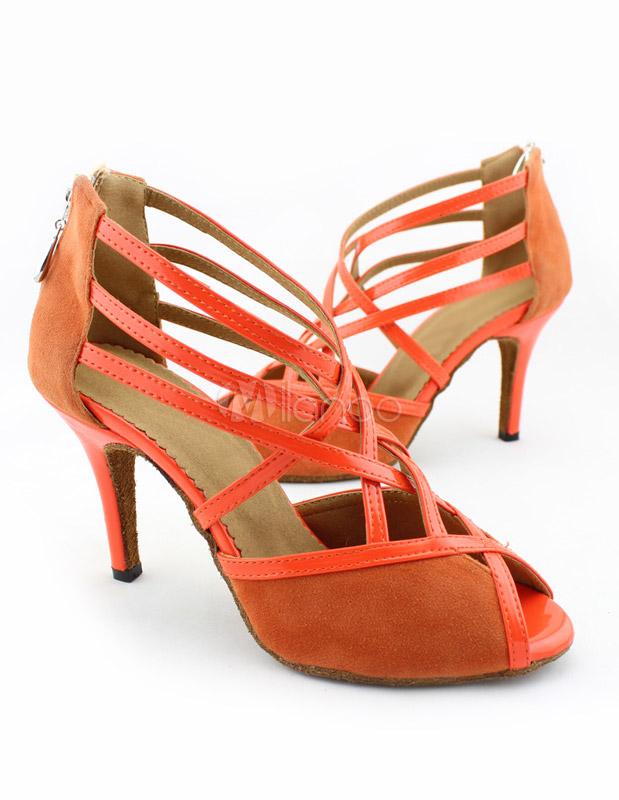 Zapatos de bailes latinos de felpa naranja uOaiN34Hlf
