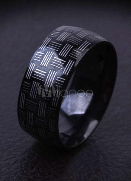 Abstract Pattern Black Stainless Steel Ring For Man
