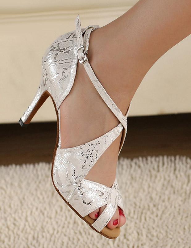 34816b0a63e Silver Peep Toe Metallic Criss-Cross Silk And Satin Stylish Latin Shoes -No.