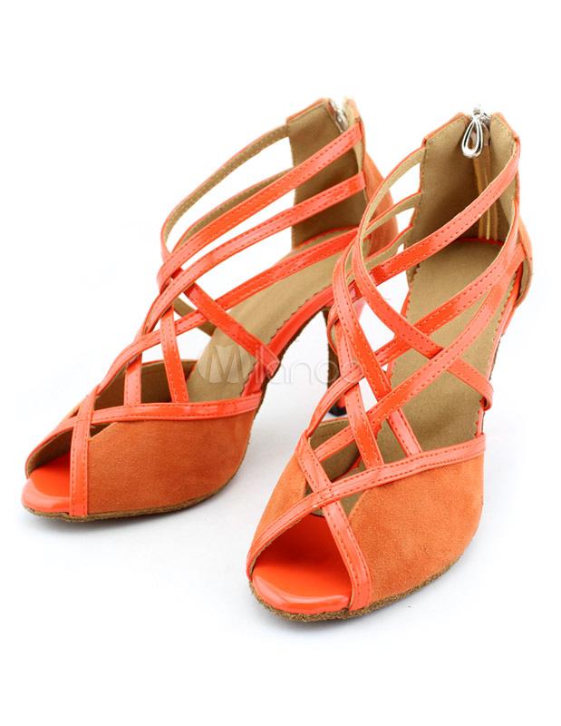 Zapatos de bailes latinos de felpa naranja EJDY0