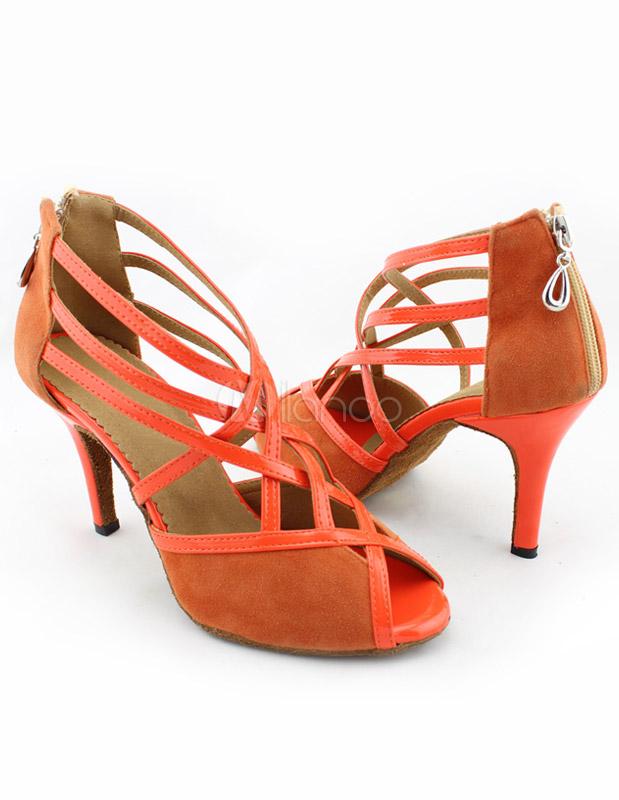 Zapatos de bailes latinos de felpa naranja WsKhYN