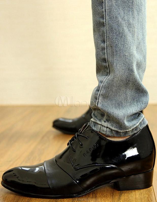 Toe Vachette Chaussures De Robe Amande L'homme Noir Cuir Moderne dexCBo