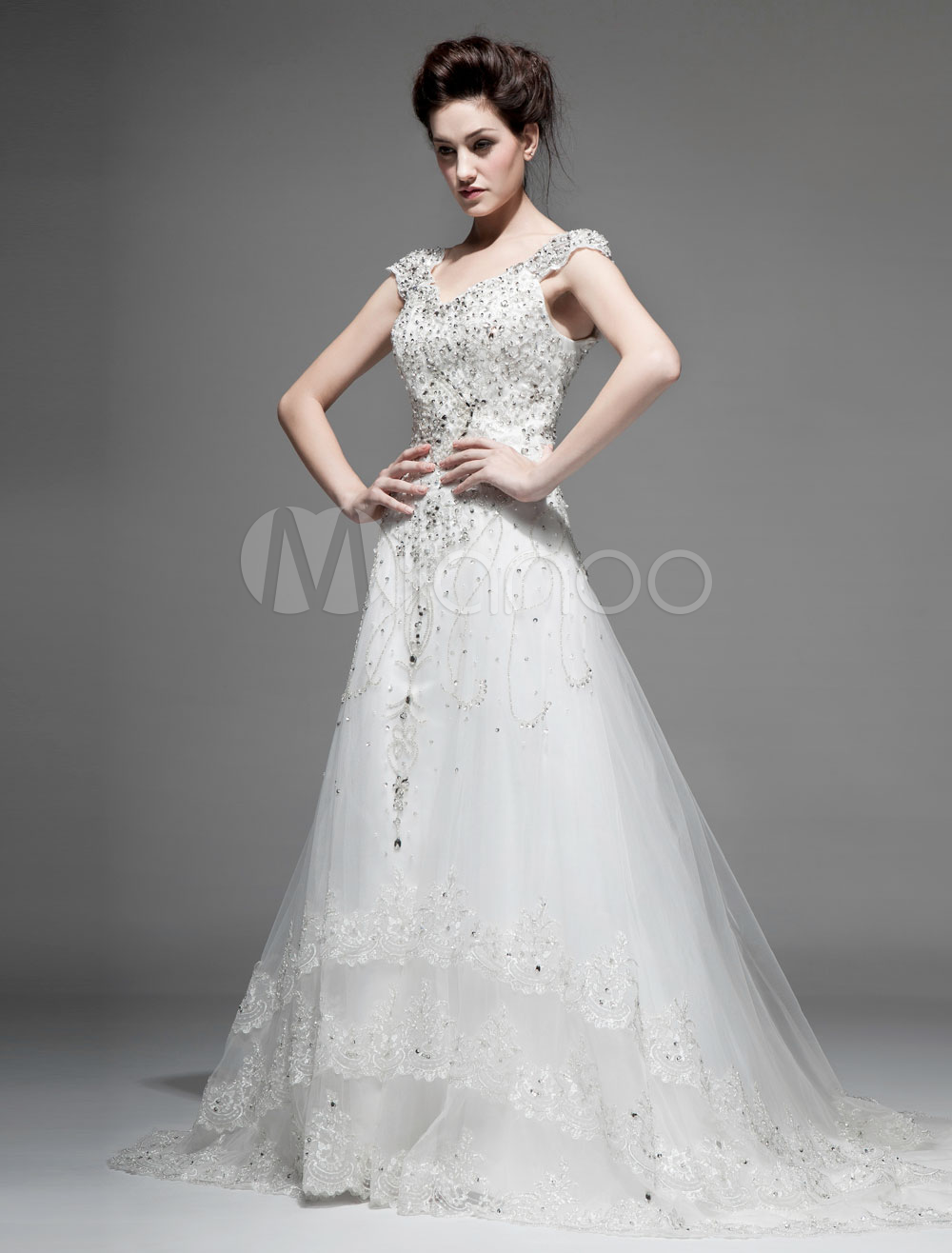 Ivory A-line Off-The-Shoulder V-Neck Lace Chapel Train Wedding Gown