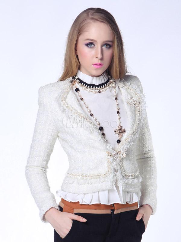 on sale 3beba 15231 Tacca bianca colletto colore solido plasmare lana elegante giacca donna