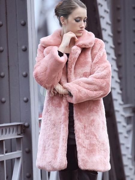eblouissant manteau rose en fausse fourrure revers crante