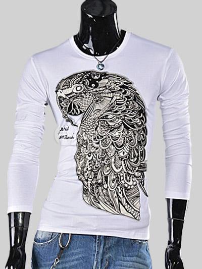 9d6018d2d32d9 Cuello redondo manga larga de algodón camiseta guapo estampada Animal para  hombre -No.1 ...
