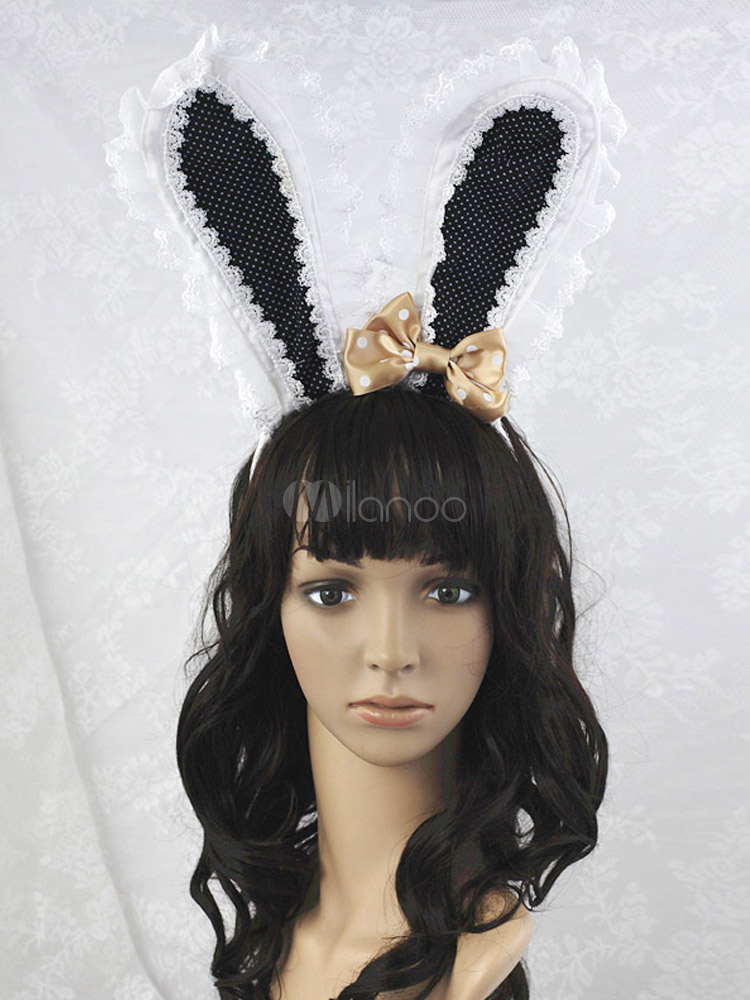 Buy Black Bow Cotton Blend Rabbit Ears Lolita Headdress for $15.99 in Milanoo store