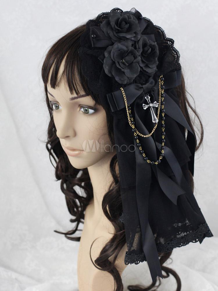 Buy Black Flower Great Mesh Lolita Headdress for $21.59 in Milanoo store