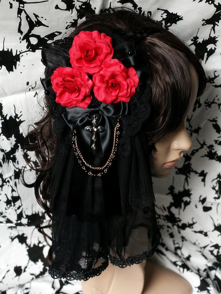 Gothic Black Mesh Lolita Headdress Red Flowers Chains