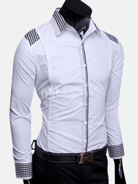 mejor sitio web ef8dd 8cfae Mangas compridas propagação pescoço moda Casual camisa de algodão para  homens