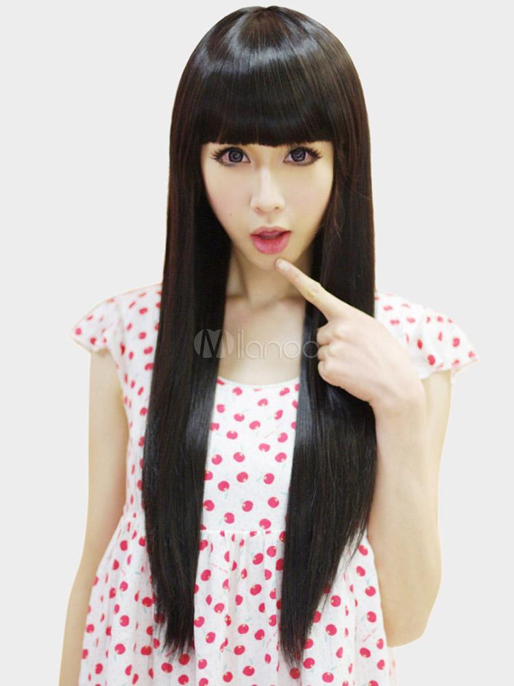 Elegante nero Kanekalon Blunt frangia lunga parrucca per donna ,No.1