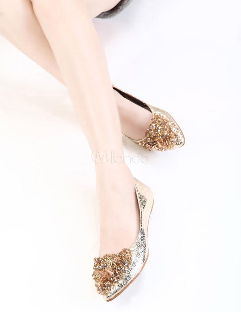 Planos Pu Zapatos Planos Zapatos De De Dorado wPn0k8O