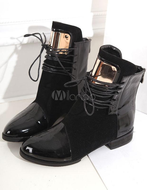 Favori Fantastique noir ronde plates bottines Toe PU lacets cuir femme  SE56