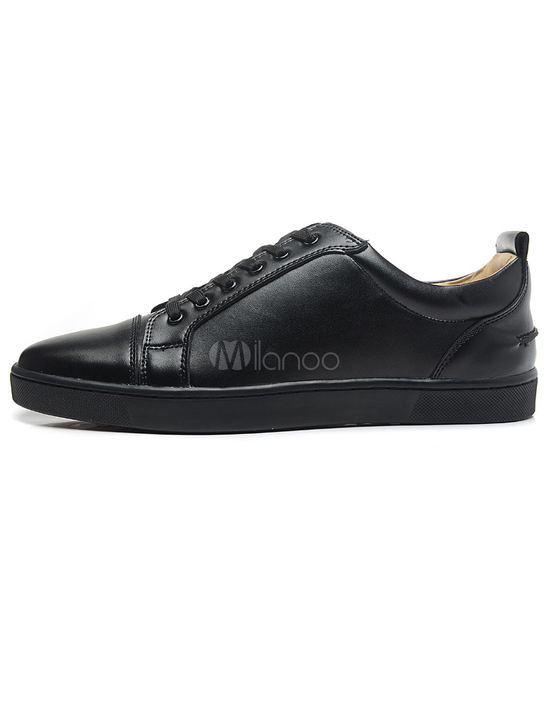 Buy Black Sheepskin Grommets Round Toe Men's Sneakers for $78.84 in Milanoo store