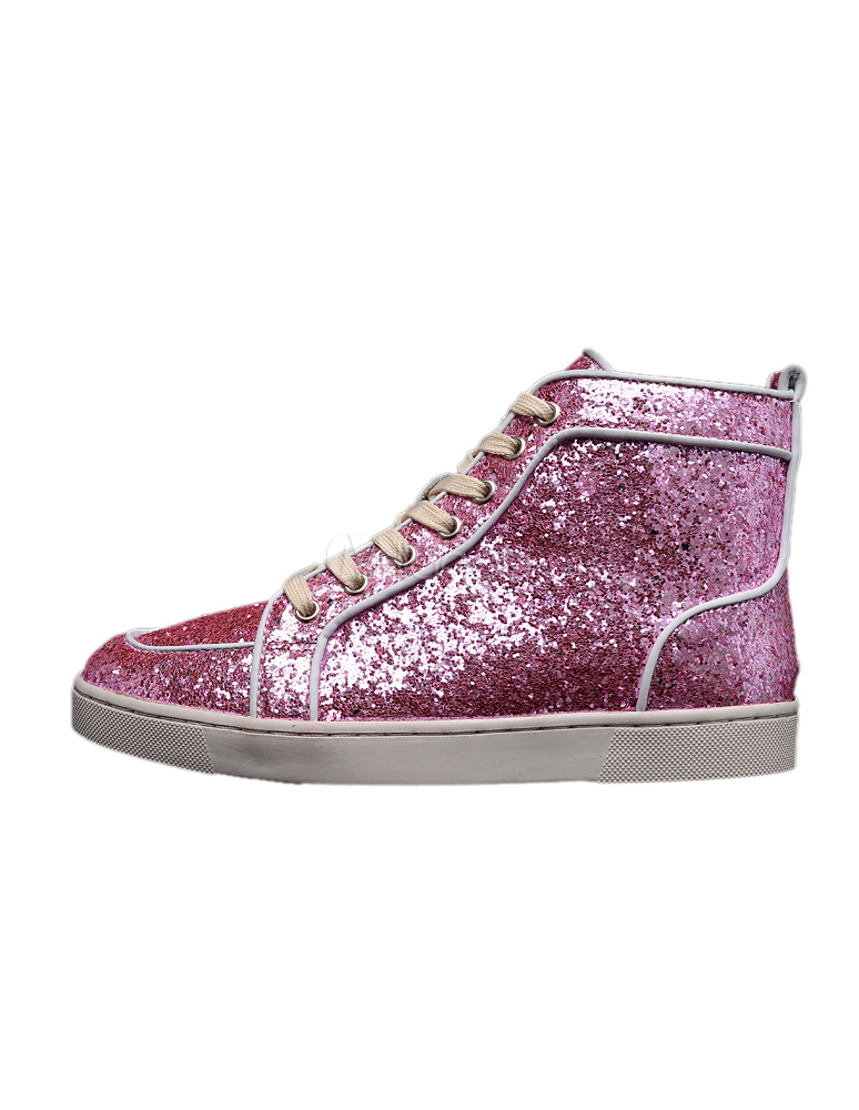 Buy Pink Sequined Cloth Round Toe Grommets Glitter Sneakers For Men for $80.99 in Milanoo store