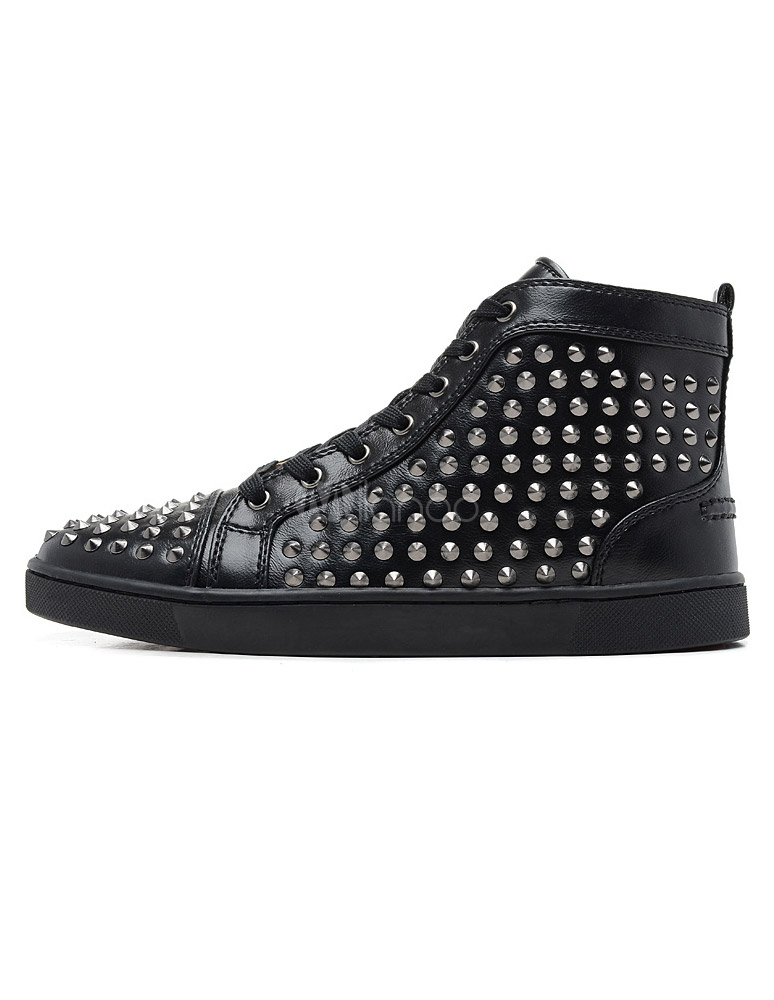 Black Sheepskin Studded Spikes Round Toe Ankle Sneakers For Man