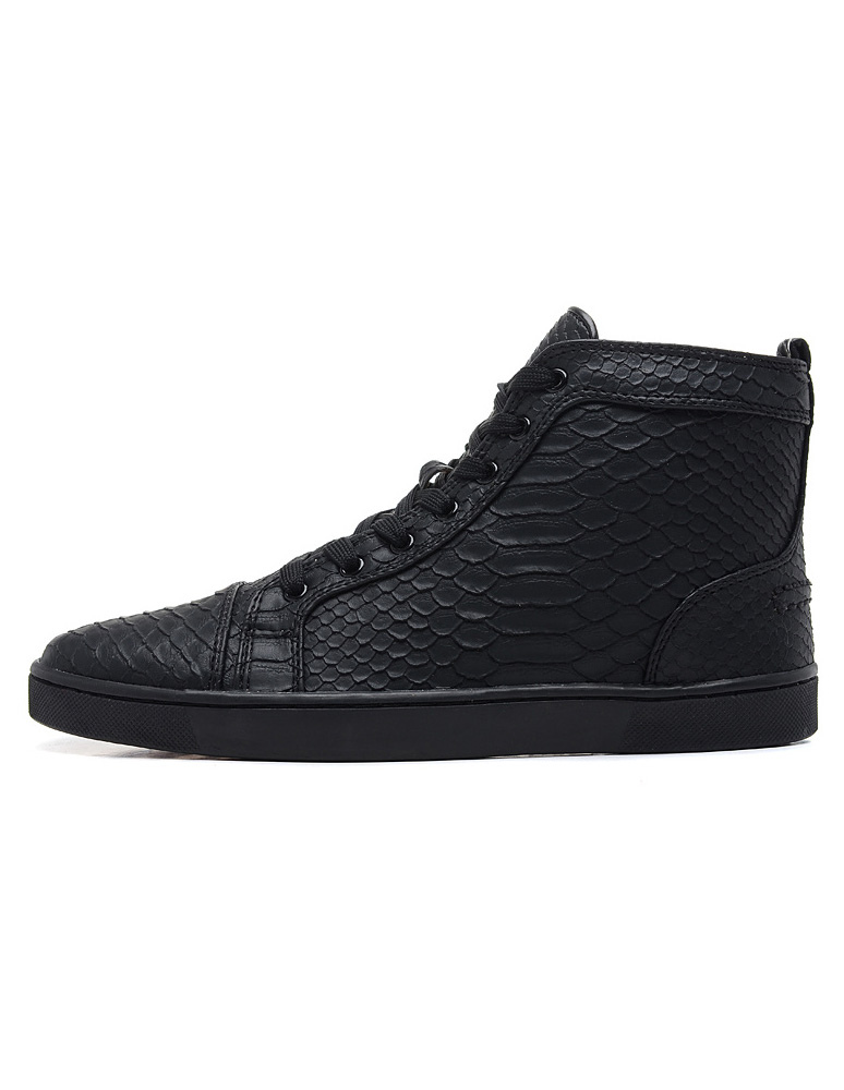 outlet store 0b3f0 601f7 Black Skate Shoes 2019 Men High Top Sneakers Leather Round Toe Lace Up  Casual Shoes