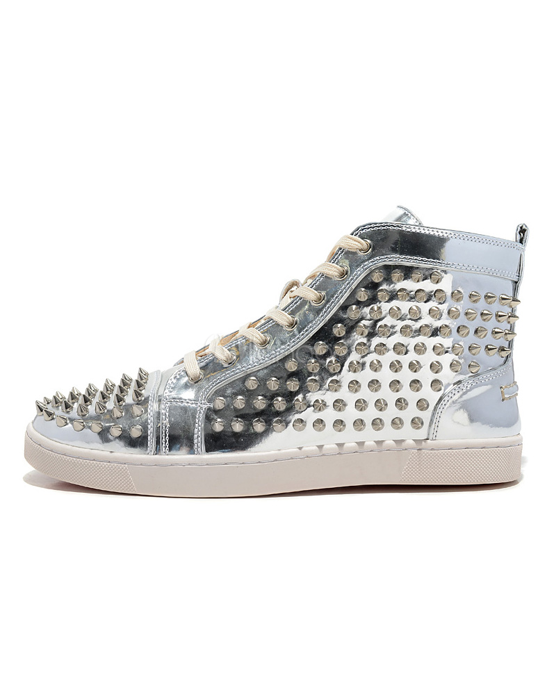 Silver Men Sneakers Men Round Toe Lace Up Rivets High Top Skate Shoes Spike Shoes
