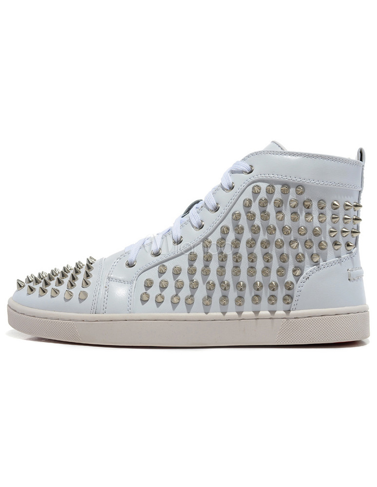 Buy White Skate Shoes 2018 Men Spike Shoes Leather Round Toe Lace Up Rivets High Top Sneakers for $71.19 in Milanoo store