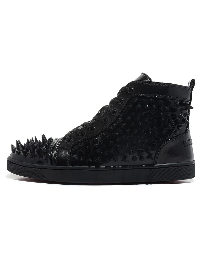 Buy Black Studded Sheepskin Round Toe Man's Ankle Sneakers for $94.99 in Milanoo store