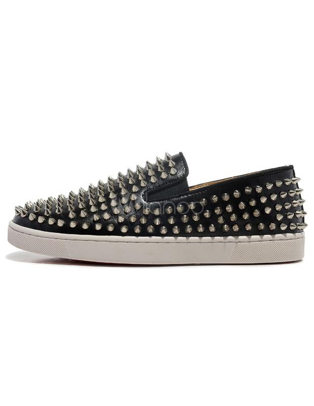 Buy Black Platform Loafers Men's Round Toe Rivet Slip On Spike Shoes for $80.99 in Milanoo store