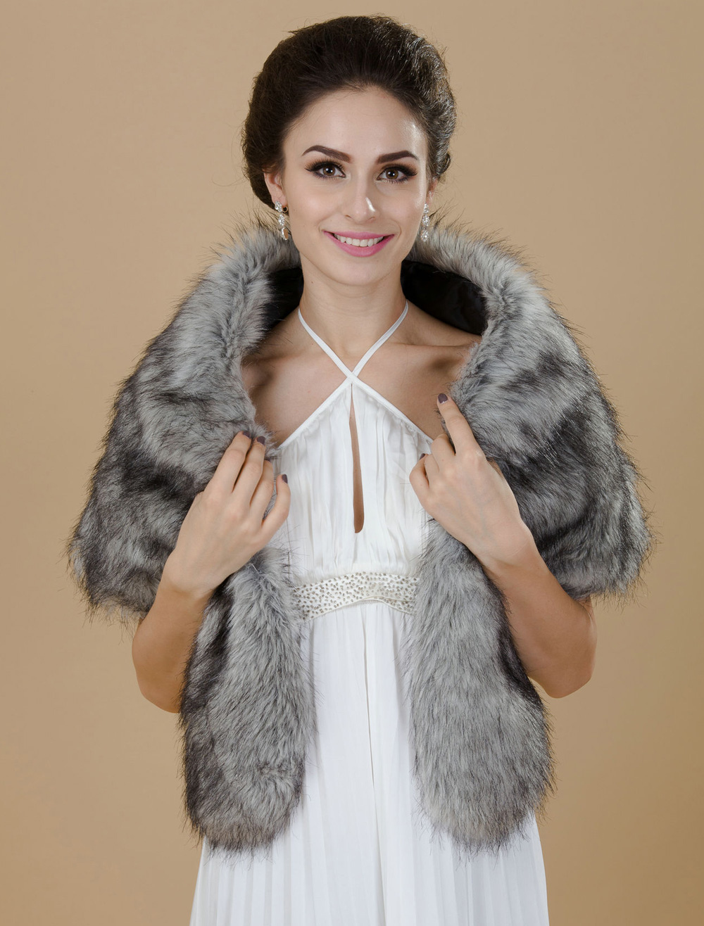 Gray Faux Fur Bridal Wedding Jacket Cheap clothes, free shipping worldwide