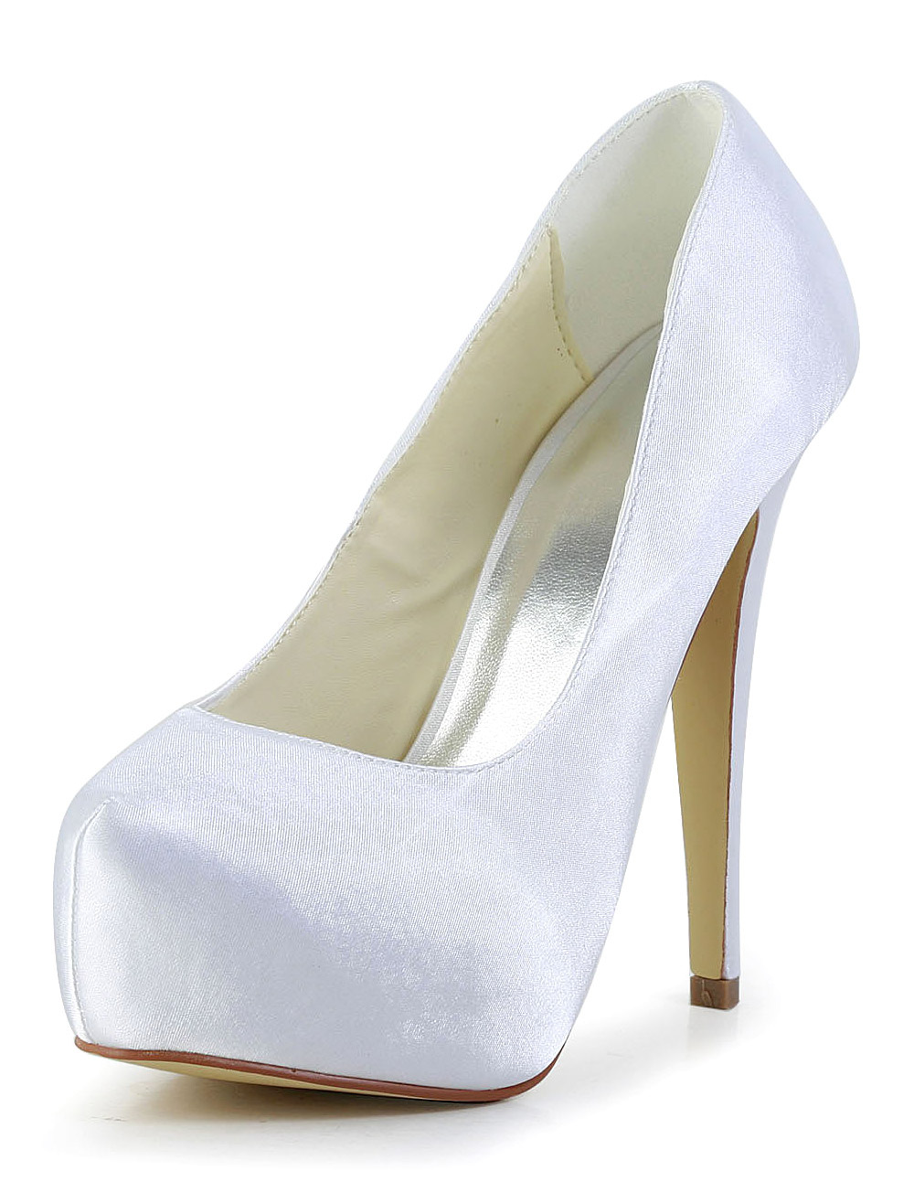 White Silk And Satin Round Toe Evening and Bride's Platforms