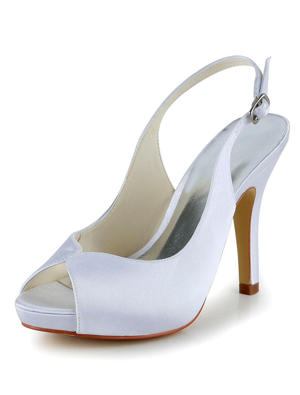 White Silk And Satin Peep Toe Pumps For Bride
