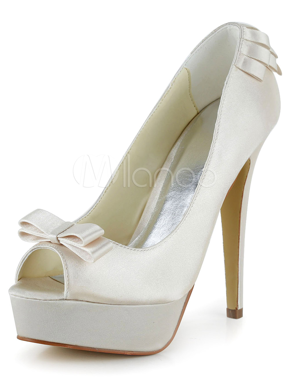 White Bow Peep Toe Evening and Bridal Platforms