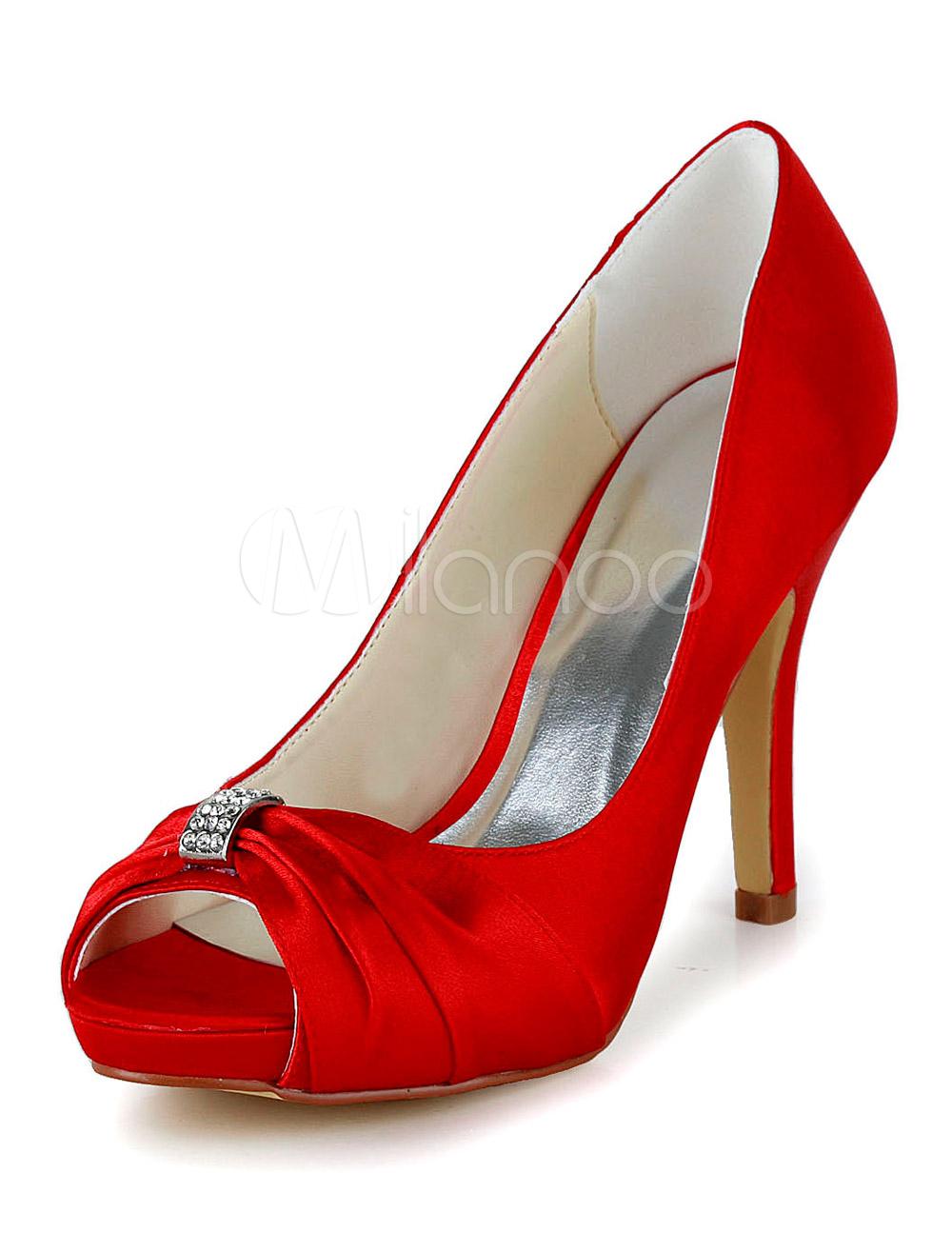 Red Satin Peep Toe Bridal Pumps