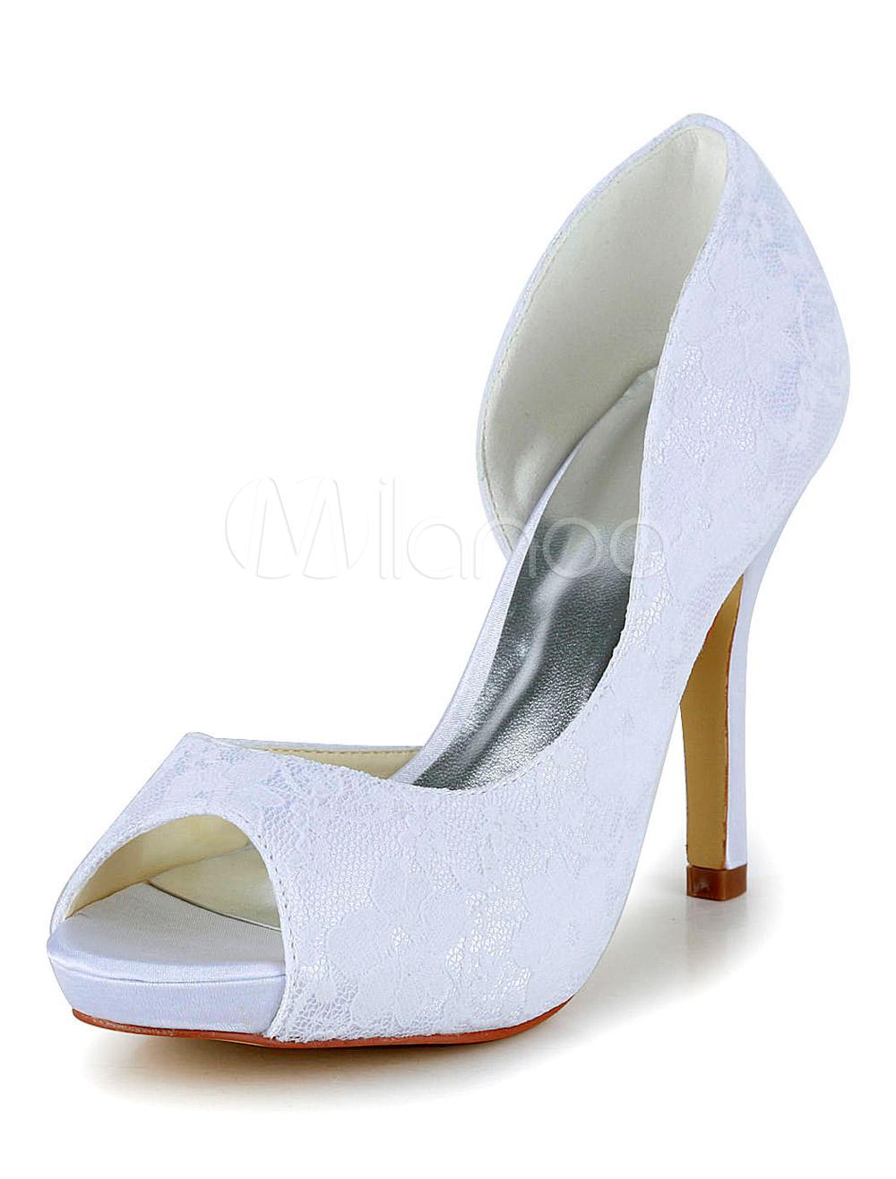 Gorgeous White Peep Toe Silk And Satin Bridal Pumps