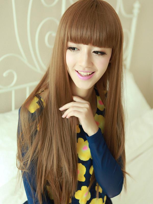 Parrucca lunga frangia smussato marrone chiaro fibra termoresistente  femminile ,No.2