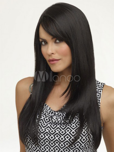 Straightened Long Layered Black Hair 46