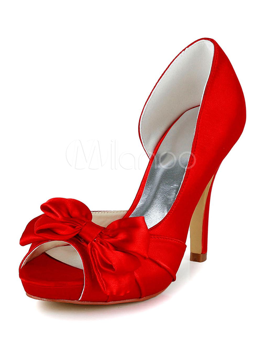 Red Peep Toe Silk And Satin Bridal Pumps