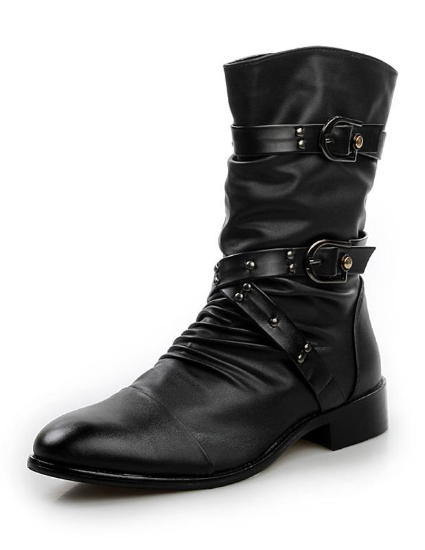 Men's Black Buckle Criss Cross PU Boots